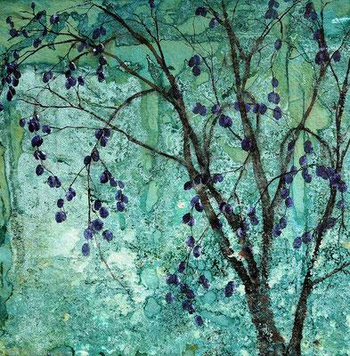 Junger Pflaumenbaum, 2019, 88 x 88 cm, Tusche und Acryl auf Papier auf Leinwand