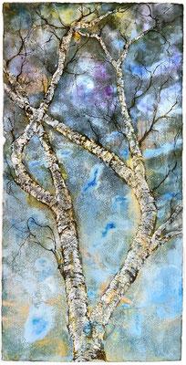 Wetterbirke, 90 x 180 cm, Tusche und Acryl auf handgeschöpftem Papier, 2021