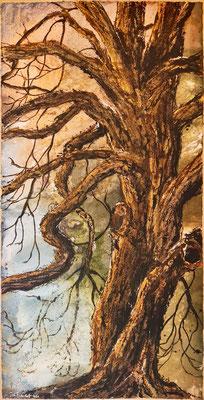 Große Kastanie in Lehmrade, 90 x 180 cm, Tusche und Acryl auf handgeschöpftem Papier, 2021