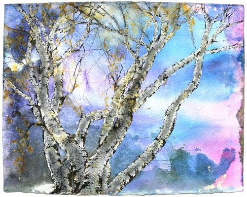 Birken blaue Stunde, Tusche und Acryl auf handgeschöpftem Papier, 110 x 140 cm, 2021