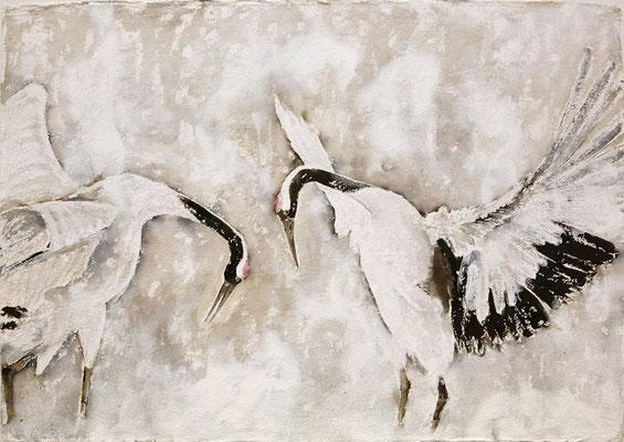 Kranichtanz, 2018, 100 x 140 cm, Sepia und Acryl auf Papier auf Leinwand