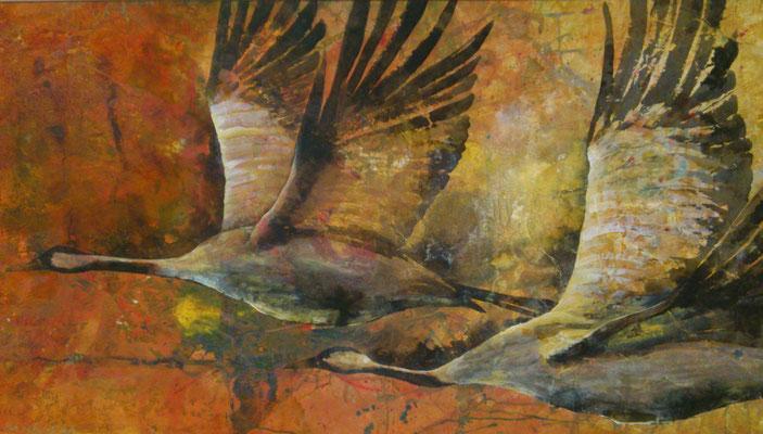 Kraniche im Flug, 2014, 90 x 140 cm, Sepia, Tusche und Acryl auf Papier auf Leinwand