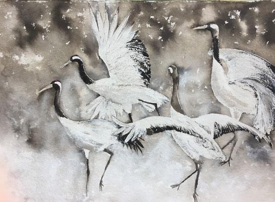 Kranichtanz, 2017, 100 x 140 cm, Sepia, Tusche und Acryl auf Papier auf Leinwand