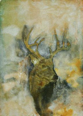Hirsch, 2019, 100 x 140 cm, Tusche und Papier auf Papier auf Leinwand