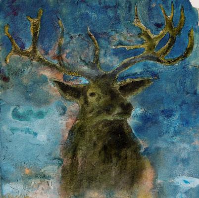 Erscheinung (der Hirsch), 2019, 100 x 100 cm, Tusche und Acryl auf Papier auf Leinwand