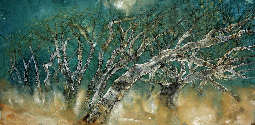 Birkengehölz auf Norderney, 2019, 90 x 180 cm, Tusche und Acryl auf Papier auf Leinwand