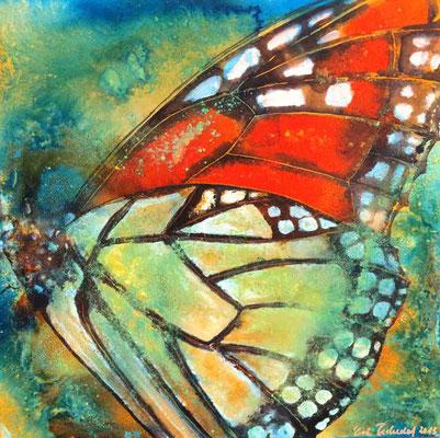 Schmetterlingsflügel, 2014, 70 x 70 cm, Mischtechnik auf Leinwand