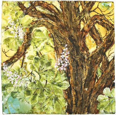 Kastanienblüte, 100 x 100 cm, Tusche und Acryl auf handgeschöpftem Papier, 2021