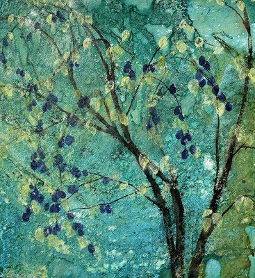 Junger Pflaumenbaum, 2019, 80 x 88 cm, Tusche und Acryl auf Papier auf Leinwand