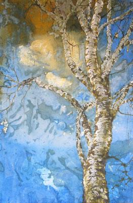 Die Birke, 2016, 100 x 140 cm, Tusche und Acryl auf Papier auf Leinwand