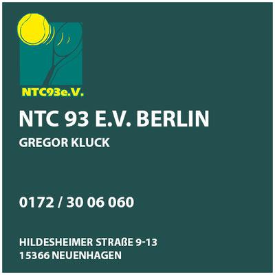 NTC 93 e.V. Berlin  Gregor Kluck  Cheftrainer     Hildesheimer Straße 9-13  15366 Neuenhagen