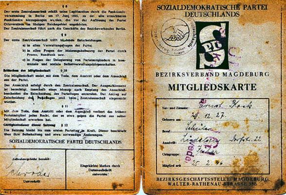 Mitgliedsausweis von Erns Block