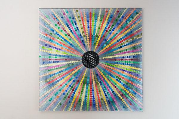 In einem Punkt führend | 90 x 90 cm | Acryl auf Leinwand