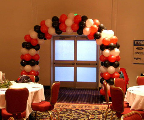 Red Black White Air-Filled Balloon Arch