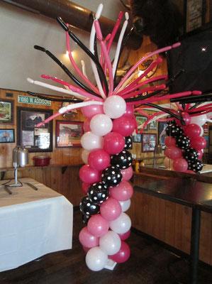 Pink white Black Air-Filled Balloon Column Spaghetti Topper