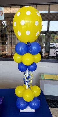 Air-Filled Balloon Centerpiece Blue Yellow Polka Dot