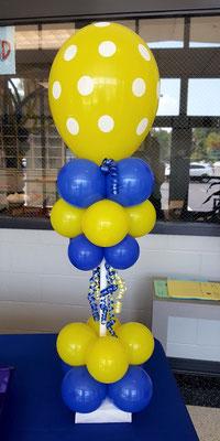 Air-Filled Balloon Centerpiece Blue Yellow Polka Dot