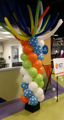 Blue Orange Lime Green Air-Filled Balloon Column Spaghetti Topper
