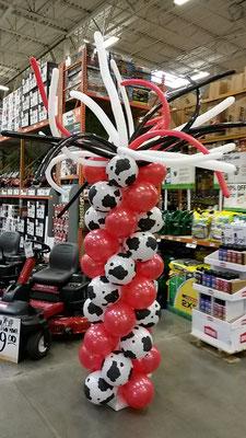Red White Black Air-Filled Balloon Column