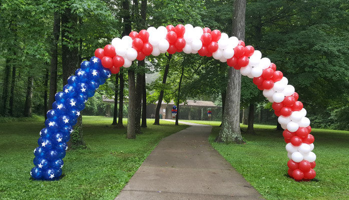 Air-Filled Balloon Arch Aeropole System Patriotic Red White Blue Stars 4th of July