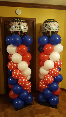 Air-Filled Balloon Columns Matching Swirl Red White Blue USI Graduation