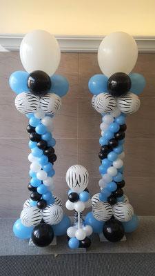 Air-Filled Balloon Column Blue Black White Swirl