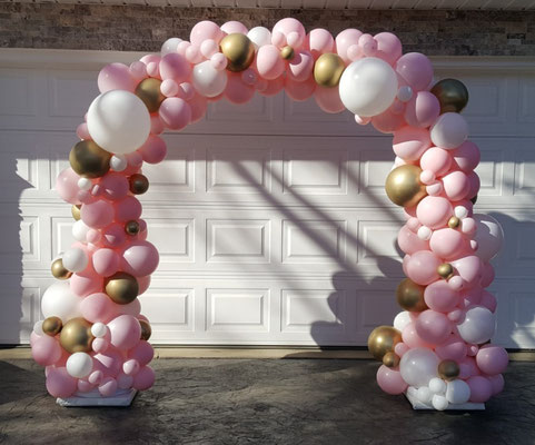 Air-Filled Organic Balloon Arch Pink White Gold