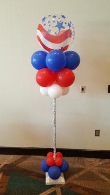 Air-filled balloon cloud patriotic red white blue flag