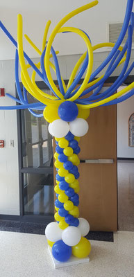Air-Filled Balloon Column Royal Blue Yellow Swirl Spaghetti Topper