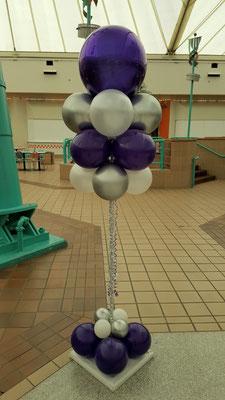 Air-filled balloon cloud purple silver white