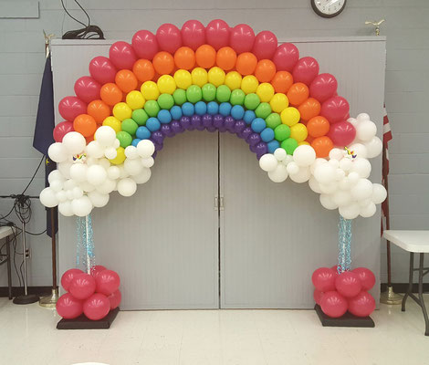 Air-Filled Balloon Arch Rainbow Clouds