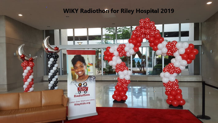 Large Red White Air-Filled Balloon Star Arch WIKY Riley Hospital 2019