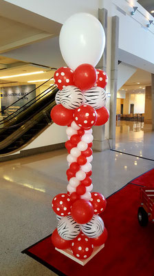 Red White Black Air-Filled Balloon Column Riley Hospital