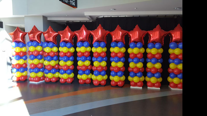 Air-Filled Balloon Matching Columns Star Red Yellow Blue