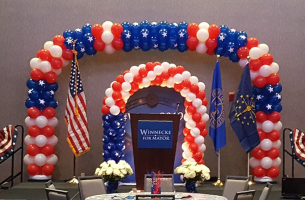 Large Air-Filled Patriotic Red White Blue Stars Arch Mayor Winnecke 4th of July