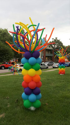 Air-Filled Balloon Column Bright Colors Rainbow Pride