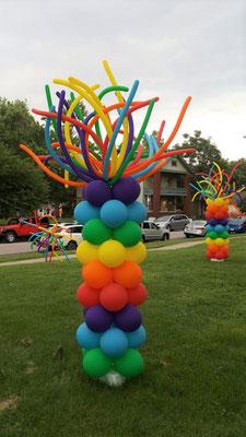 Air-Filled Balloon Column Bright Colors Rainbow Pride