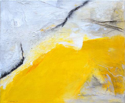 Die Wandlung (gelb) 60x50cm, Acryl auf Leinwand (Mischtechnik) - verkauft