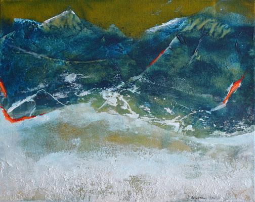 Berge und Schnee 50x40cm, Acryl auf Leinwand (Mischtechnik)