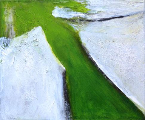 Die Wandlung (grün) 60x50cm, Acryl auf Leinwand (Mischtechnik)