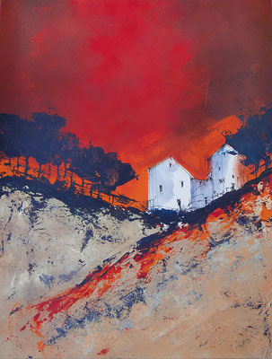 Haus (rot), 50x65, Acryl auf Papier