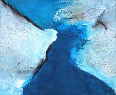 Die Wandlung (blau) 60x50cm, Acryl auf Leinwand (Mischtechnik)