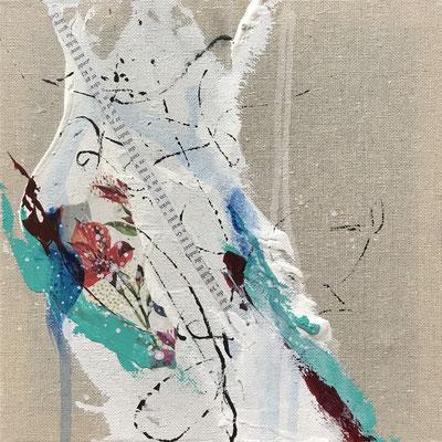 bezaubern, 25x25cm, Collage auf Canvas, weiß gerahmt
