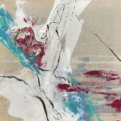 verzückend, 25x25cm, Collage auf Canvas, weiß gerahmt