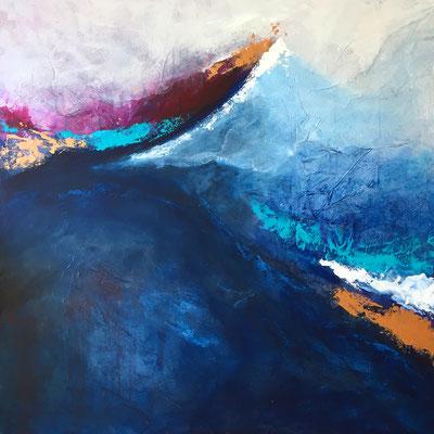 blauer Berg 100x100cm, Acryl auf Leinwand