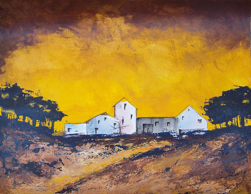 Häuser (gelb), 65x50cm, Acryl auf Papier