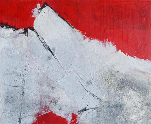 Rot auf Holz (1), ca 32x23cm, Acryl auf Holz