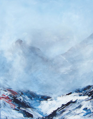 Berg im Nebel, 80x100cm, Acryl auf Leinwand