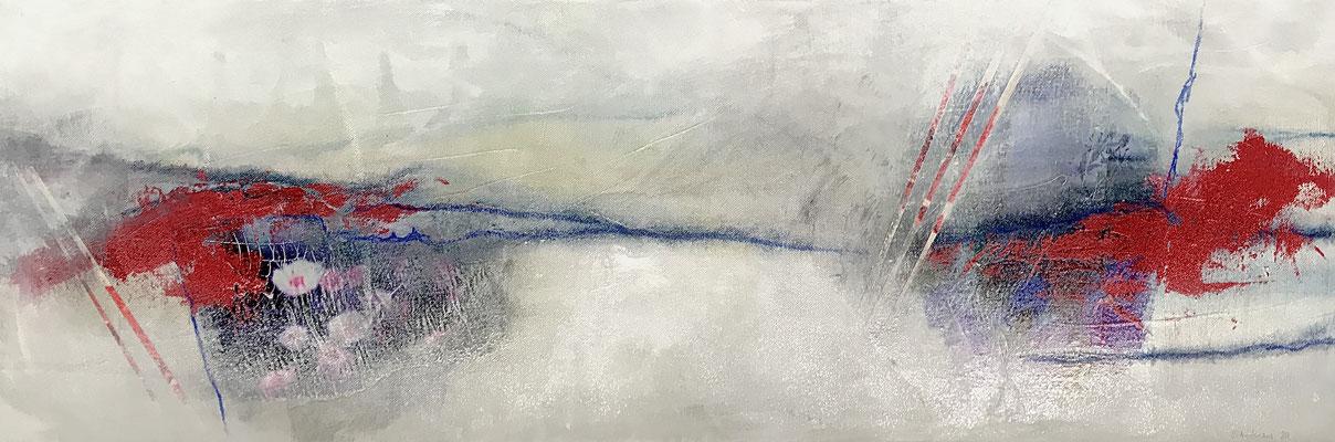 Rosen, 90x30cm, Acryl-Collage auf Leinwand