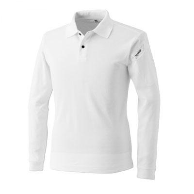 TS DESIGN~TSデザイン~4075 ロングスリーブポロシャツ 05 ホワイト